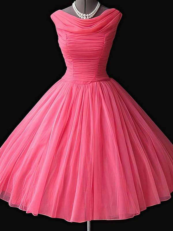 A-line Cowl Neck Short/Mini Chiffon Prom Dresses with Pleats #Favs02016781