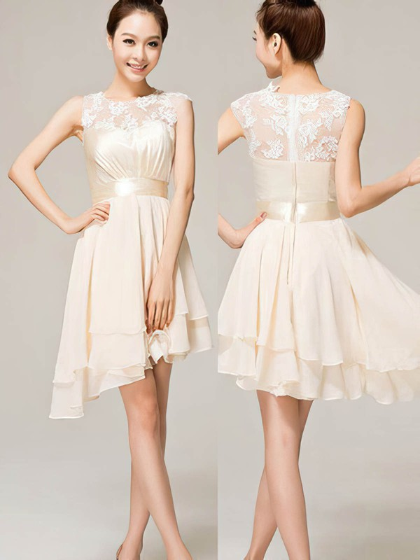 A-line Scoop Neck Asymmetrical Chiffon Prom Dresses with Appliques Lace Sashes #Favs02019743
