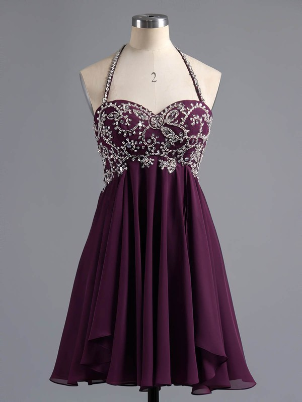 Empire Halter Short/Mini Chiffon Prom Dresses with Beading #Favs02042381