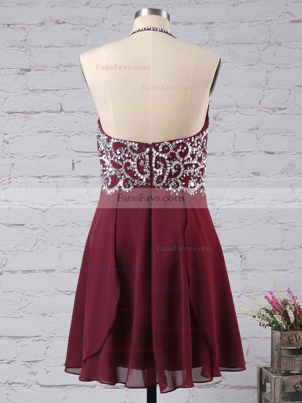 Empire Halter Chiffon Short/Mini Beading Homecoming Dresses #Favs02042381