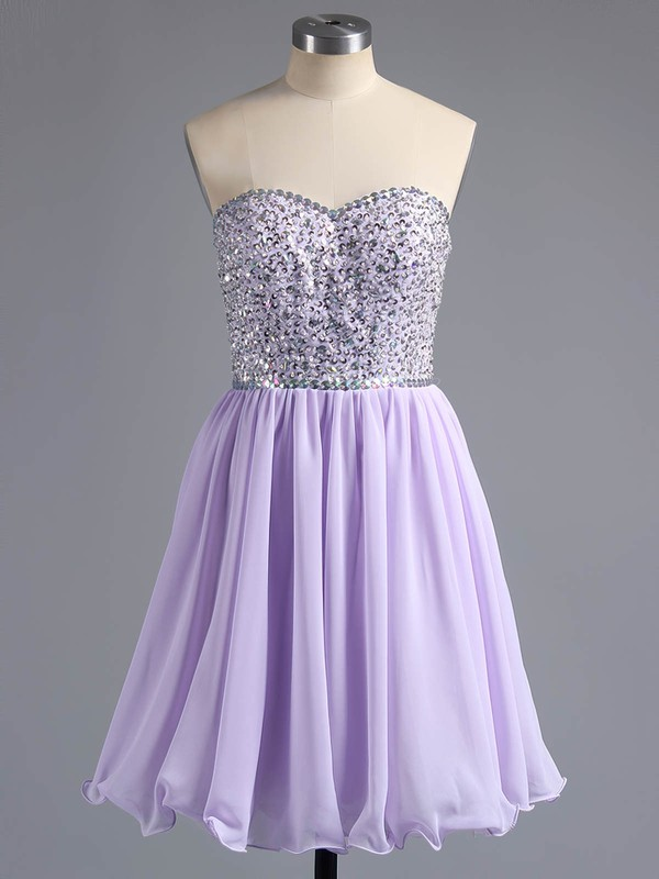A-line Sweetheart Short/Mini Chiffon Prom Dresses with Beading Ruffle #Favs02042389