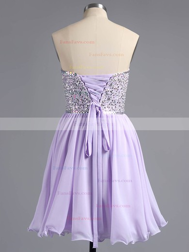 A-line Sweetheart Chiffon Short/Mini Beading Homecoming Dresses #Favs02042389