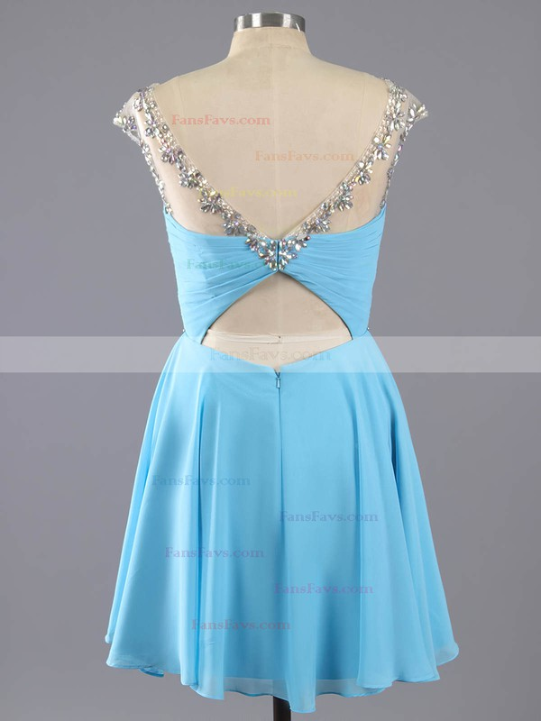 A-line Scoop Neck Chiffon Short/Mini Ruffles Homecoming Dresses #Favs02042461