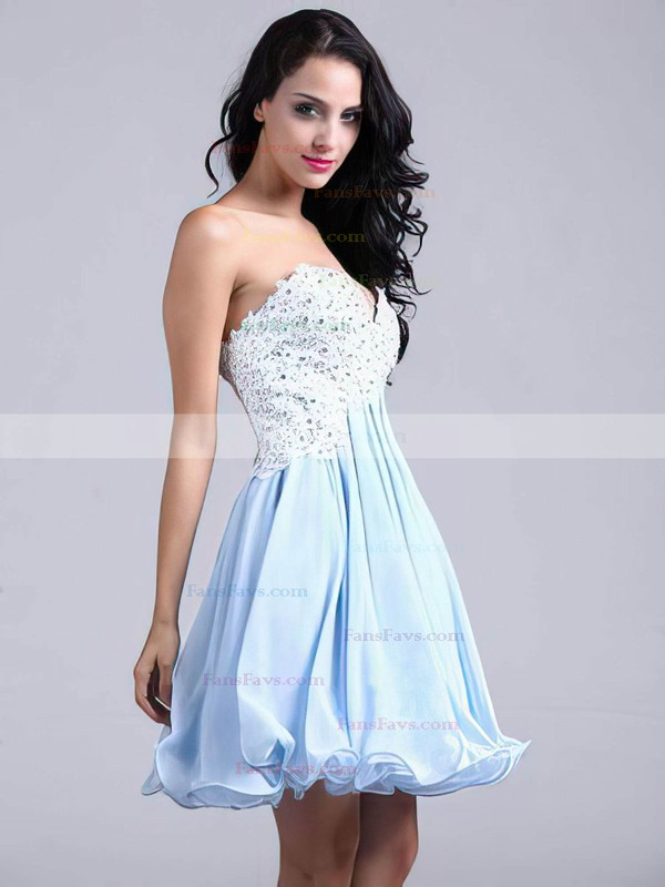 A-line Sweetheart Chiffon Short/Mini Appliques Lace Homecoming Dresses #Favs02051689