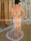 Trumpet/Mermaid Scoop Neck Tulle Floor-length Appliques Lace Prom Dresses #Favs020104424