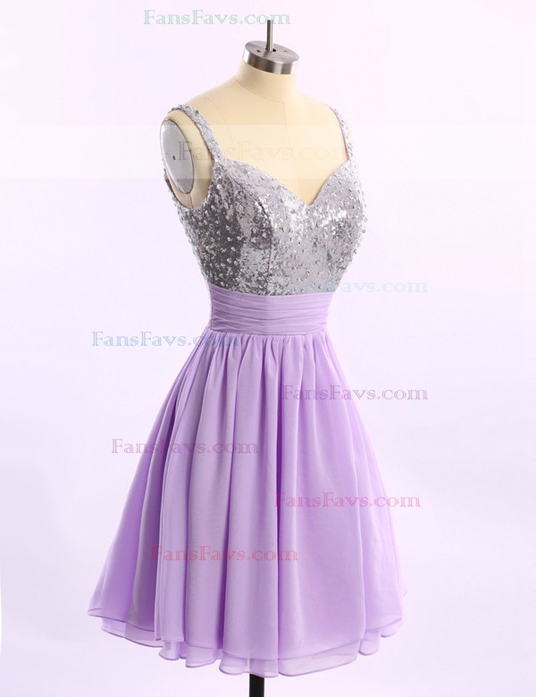 A-line V-neck Short/Mini Sequined Prom Dresses with Ruffle Sequins #Favs02014578