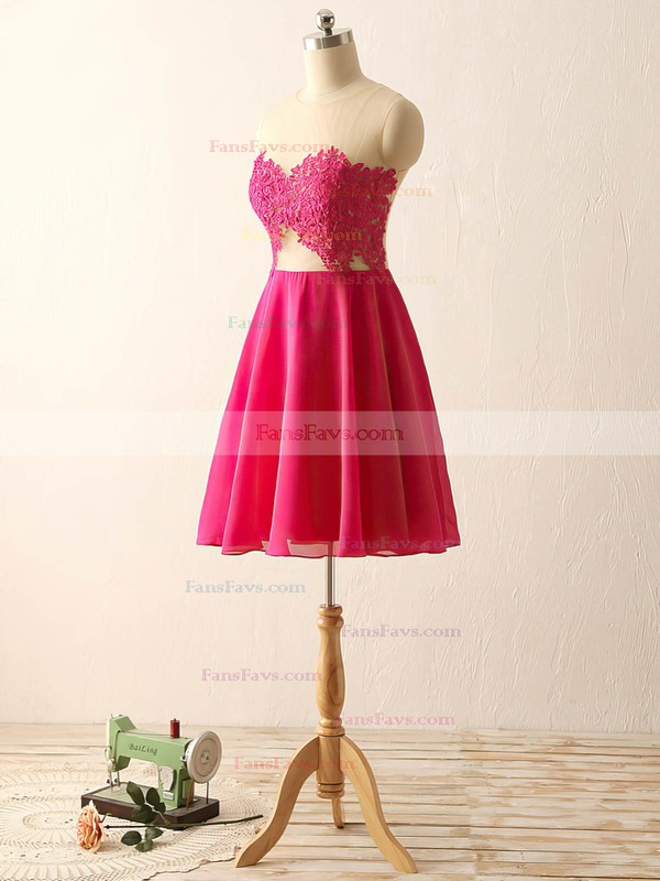 Fuchsia Scoop Neck Chiffon Tulle Short/Mini Appliques Lace Cheap Prom Dresses #Favs020101793