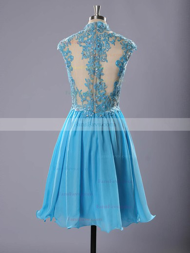 A-line High Neck Short/Mini Chiffon Prom Dresses with Appliques Lace Beading #Favs020102183