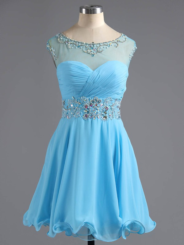 A-line Scoop Neck Short/Mini Chiffon Tulle Prom Dresses with Beading #Favs02016425