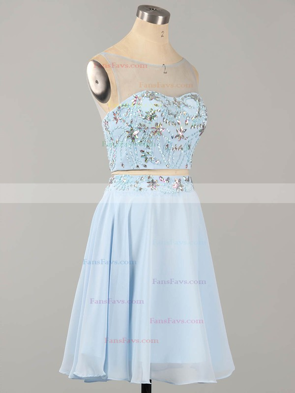 A-line Scoop Neck Chiffon Tulle Short/Mini Beading Homecoming Dresses #Favs02019183