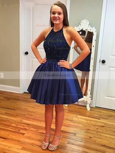 A-line Halter Short/Mini Satin Prom Dresses with Beading #Favs020102526