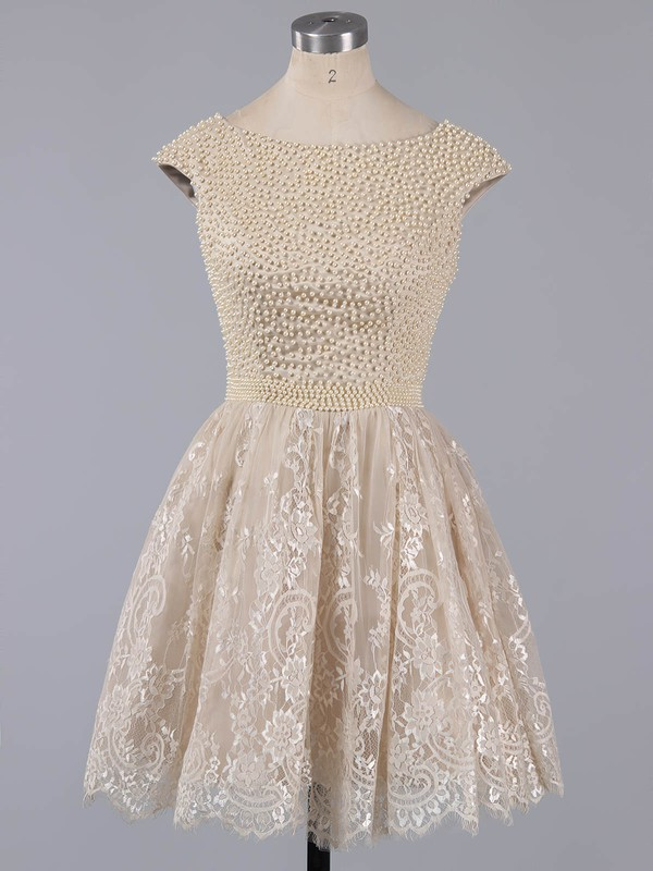A-line Scoop Neck Short/Mini Lace Prom Dresses with Pearl Detailing #Favs020101436