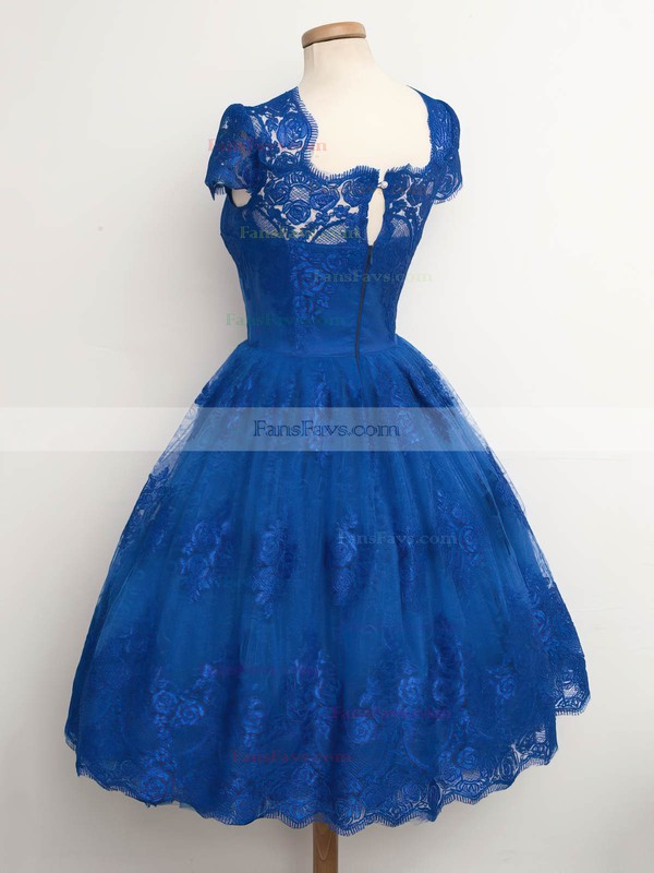 Ball Gown Scalloped Neck Lace Tea-length Appliques Lace Homecoming Dresses #Favs020102565