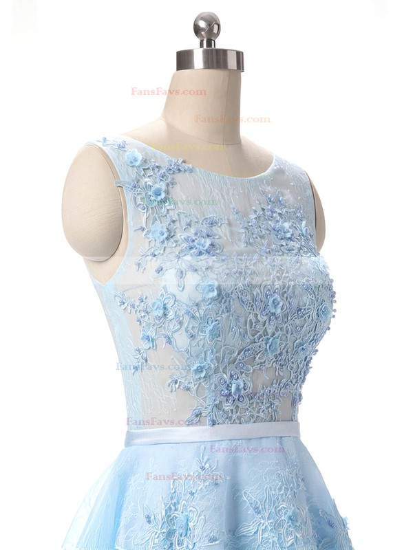 Girls A-line Scoop Neck Lace Appliques Lace Short/Mini Prom Dresses #Favs020102715