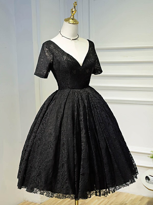A-line V-neck Lace Short/Mini Ruffles Black Short Sleeve Backless Vintage Prom Dresses #Favs020103687