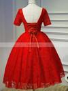 A-line V-neck Lace Short/Mini Ruffles Black Short Sleeve Backless Vintage Prom Dresses #Favs020103687