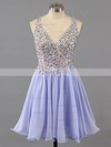 A-line V-neck Lace Chiffon Short/Mini Ruffles Homecoming Dresses #Favs02016363