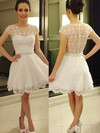 Short/Mini Lace Chiffon with Pearl Detailing New Style Ivory Short Sleeve Prom Dresses #Favs02019813