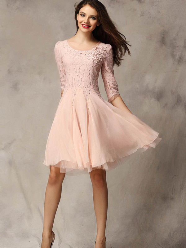 A-line Scoop Neck Short/Mini Chiffon Tulle Prom Dresses with Appliques Lace #Favs02018178