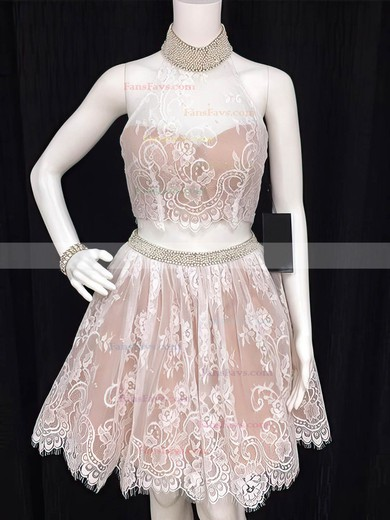 Ball Gown High Neck Lace Satin Short/Mini Beading Black Two Piece Cute Prom Dresses #Favs020103327