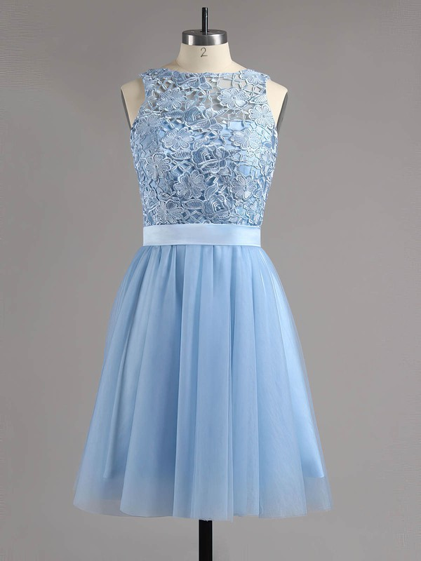A-line Scoop Neck Short/Mini Lace Tulle Prom Dresses with Sashes #Favs020100826
