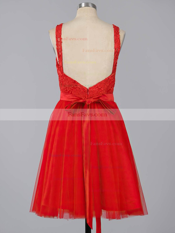 A-line Scoop Neck Lace Tulle Short/Mini Sashes / Ribbons Backless Sweet Homecoming Dresses #Favs020100826