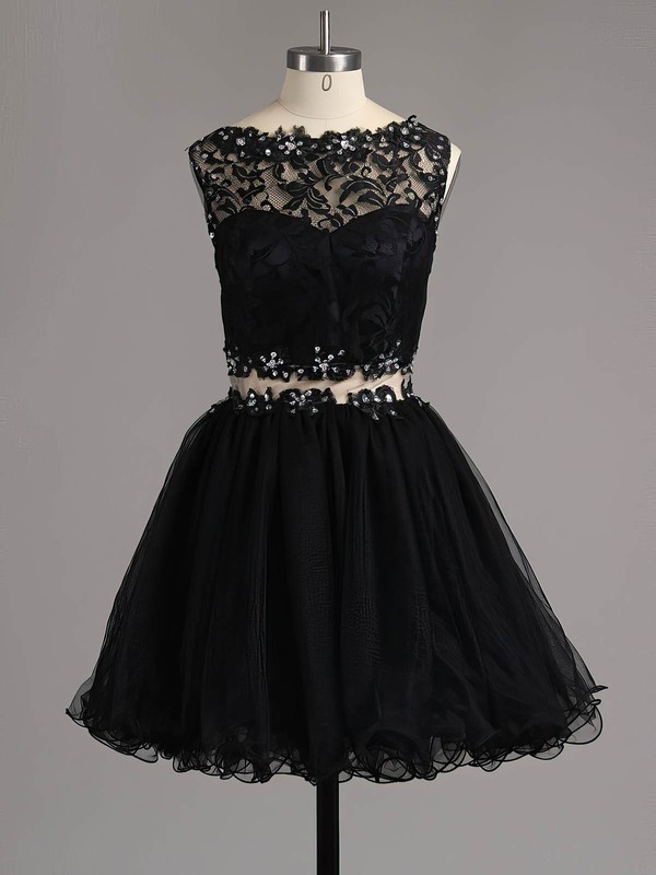 Black A-line Scoop Neck Lace Tulle Beading Custom Short/Mini Homecoming Dresses #Favs020101138