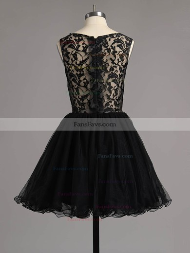 A-line Scoop Neck Short/Mini Lace Tulle Prom Dresses with Beading Ruffle #Favs020101138