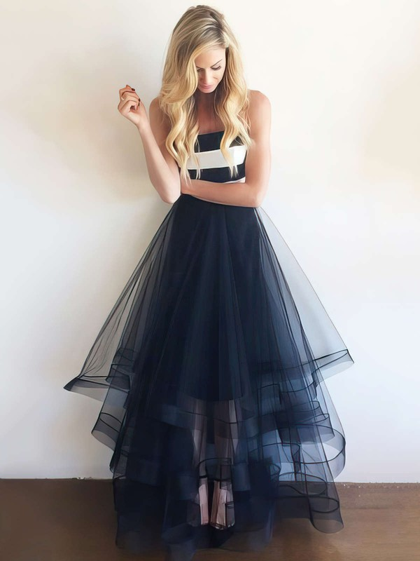 Princess Strapless Tulle Floor-length Tiered Prom Dresses #Favs020104508