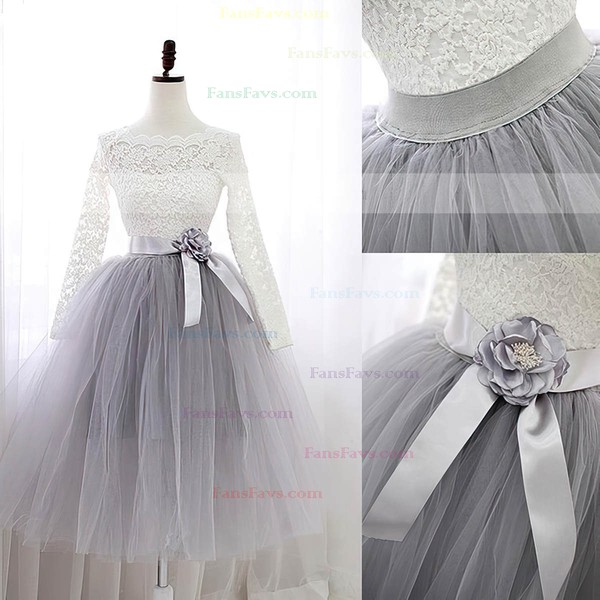 Sweet A-line Scalloped Neck Lace Tulle Knee-length Sashes / Ribbons Long Sleeve Prom Dresses #Favs020102849