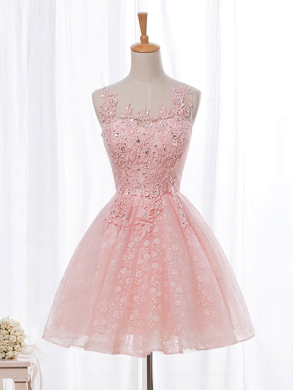 A-line Scoop Neck Lace Tulle Short/Mini Beading Pretty Prom Dresses #Favs020102854
