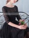 Black A-line Scoop Neck Lace Tulle Knee-length Sashes / Ribbons 1/2 Sleeve Simple Prom Dresses #Favs020102872
