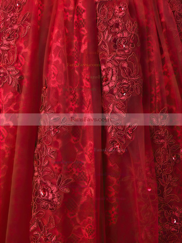 A-line Scoop Neck Tea-length Tulle Prom Dresses with Appliques Lace Sashes #Favs020103698