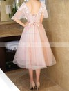 Princess V-neck Lace Tulle Tea-length Appliques Lace Prom Dresses #Favs020105819