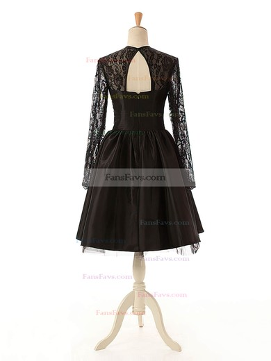 Elegant A-line Scoop Neck Lace Tulle Silk-like Satin Knee-length Long Sleeve Black Homecoming Dresses #Favs020102516