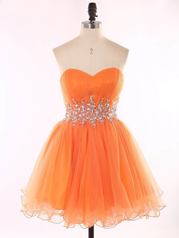 A-line Sweetheart Short/Mini Organza Prom Dresses with Beading #Favs020101625