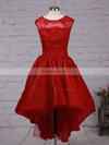 A-line Scoop Neck Asymmetrical Organza Prom Dresses with Lace Sequins #Favs020102825
