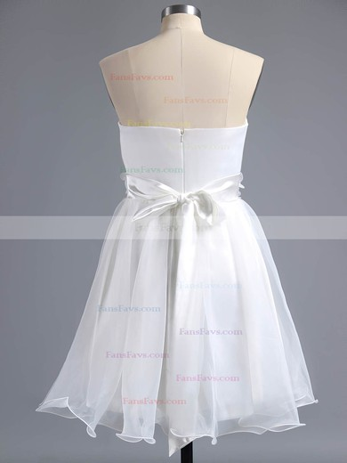 A-line Sweetheart Organza Short/Mini Sashes / Ribbons Homecoming Dresses #Favs02013244
