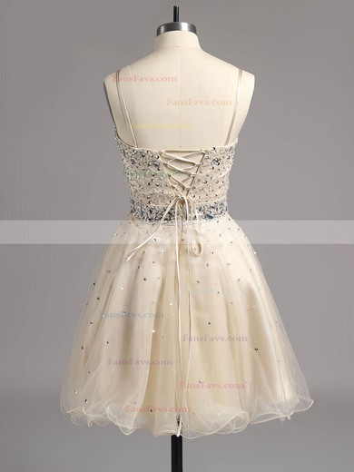 A-line Sweetheart Organza Short/Mini Beading Homecoming Dresses #Favs02014607