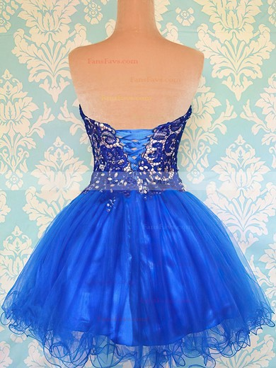 Royal Blue Organza Ball Gown Cute Lace-up Beading Prom Dress #Favs02051698