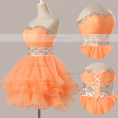 Ball Gown Sweetheart Short/Mini Organza Prom Dresses with Beading Ruffle #Favs02051735