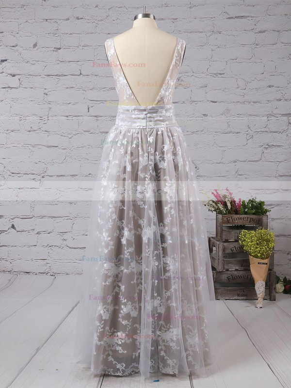 A-line V-neck Lace Tulle Floor-length Prom Dresses #Favs020104576