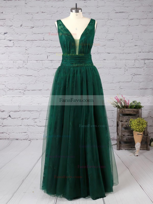A-line V-neck Floor-length Lace Tulle Prom Dresses with Ruffle Sashes #Favs020104576