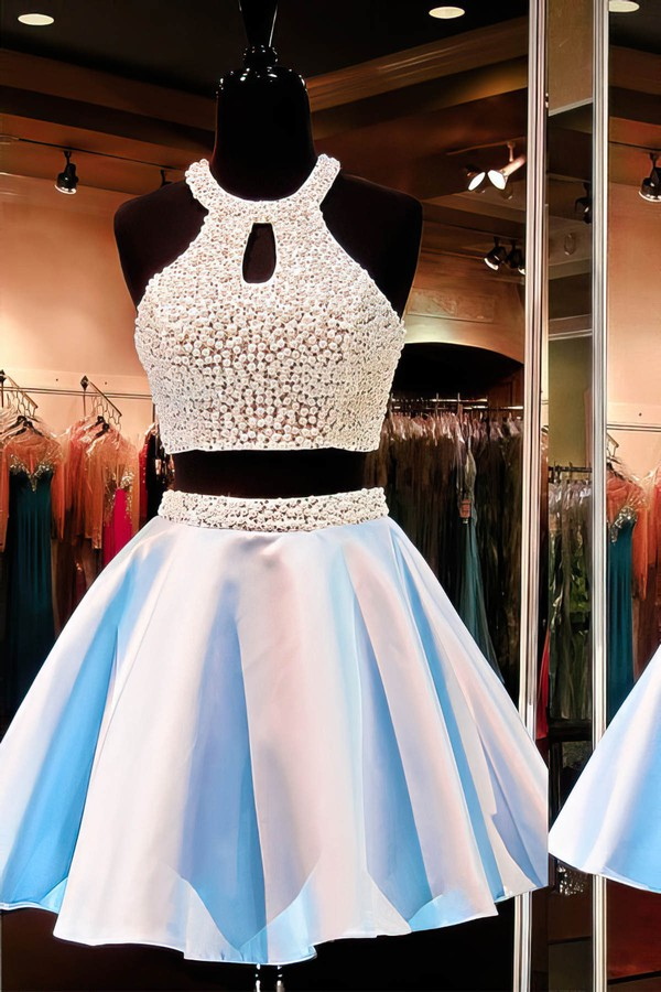 A-line Scoop Neck Short/Mini Satin Prom Dresses with Pearl Detailing #Favs020102471
