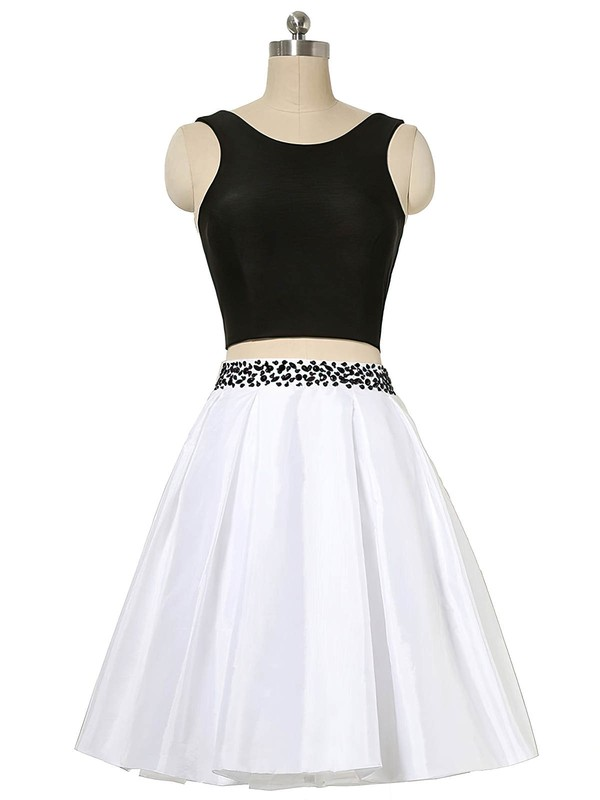 A-line Scoop Neck Short/Mini Satin Prom Dresses with Beading #Favs020103012