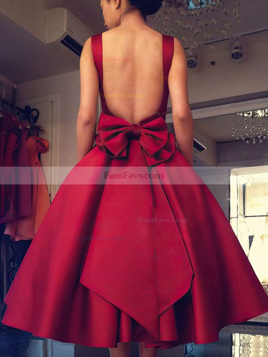 Ball Gown Square Neckline Tea-length Satin Prom Dresses with Bow #Favs020103061