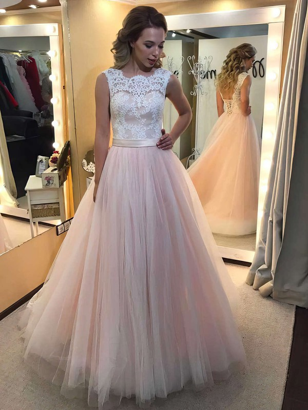 Ball Gown Scalloped Neck Tulle Floor-length Appliques Lace Prom Dresses #Favs020104585