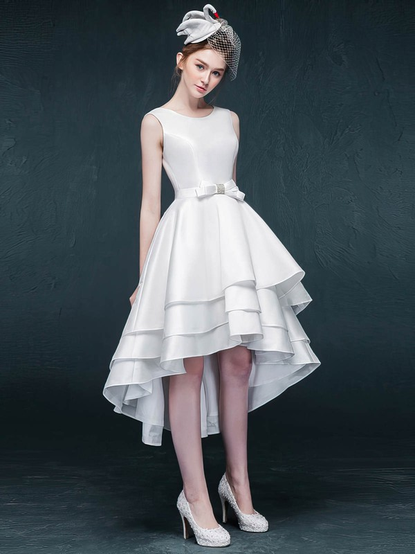 A-line Scoop Neck Satin Asymmetrical Sashes / Ribbons Prom Dresses #Favs020105382