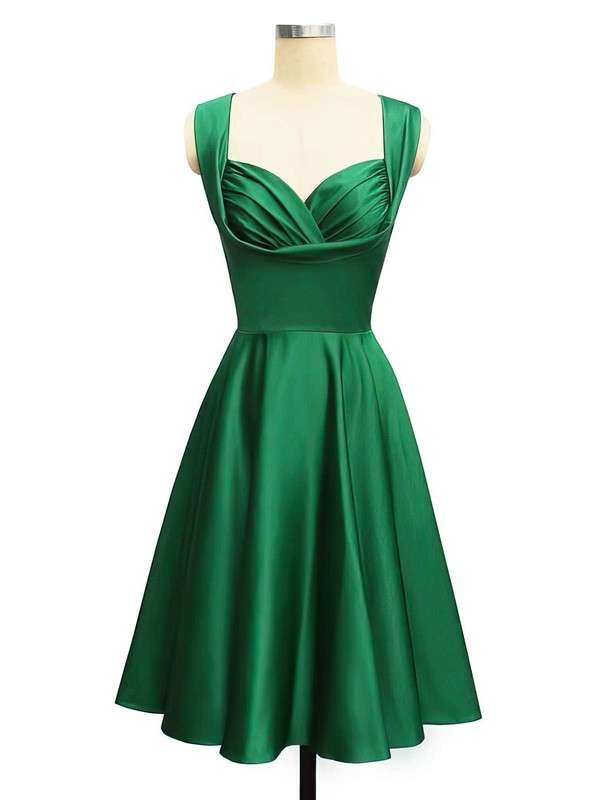 A-line Sweetheart Knee-length Satin Prom Dresses with Ruffle #Favs02013400