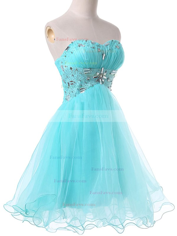 A-line Sweetheart Satin Organza Short/Mini Beading Homecoming Dresses #Favs02051736